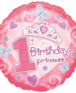 Helium filled first birthday princess Foil Balloon