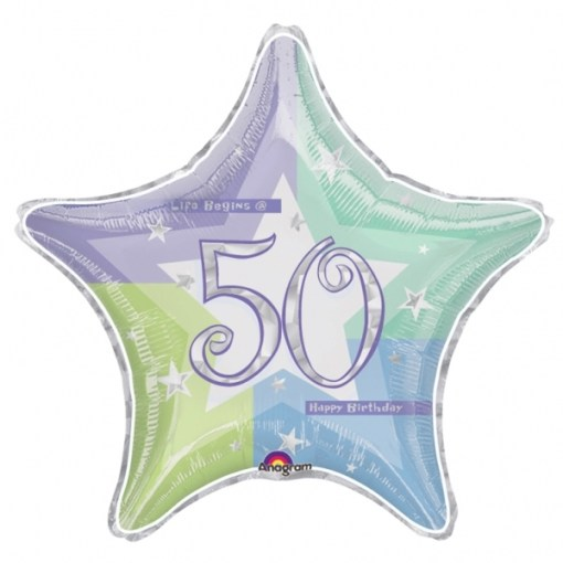 Blue Shimmer 50th Birthday 18 Helium Filled Foil Balloon