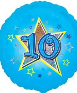 "Blue stars 10th Birthday 18"" Helium Filled Foil Balloon"