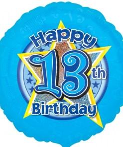"Blue stars 13th Birthday 18"" Helium Filled Foil Balloon"