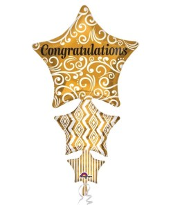 Congratulations Stacked Star Supershape Helium Filled Foil Balloon