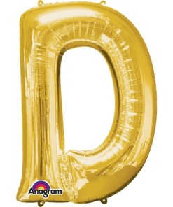 "Gold Supershape Letter D 34"" Helium Filled foil Balloon"