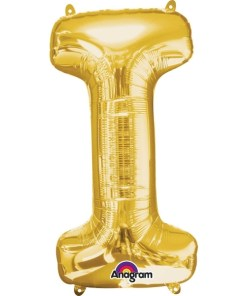 "Gold Supershape Letter I 34"" Helium Filled foil Balloon"