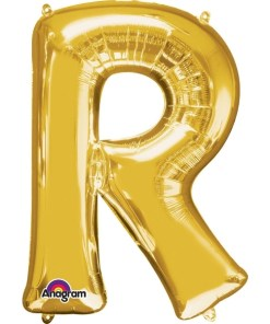 "Gold Supershape Letter R 34"" Helium Filled foil Balloon"