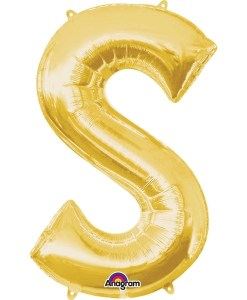 "Gold Supershape Letter S 34"" Helium Filled foil Balloon"