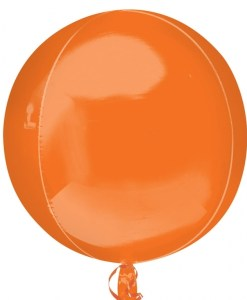 "3 Plain Orange 16"" Orbz Helium Filled Foil Balloons"