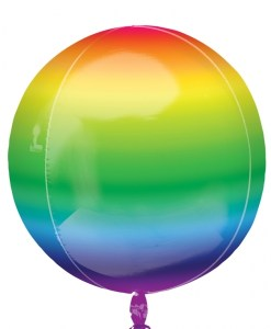 "3 Plain Rainbow 16"" Orbz Helium Filled Foil Balloons"