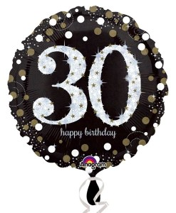 "Sparkling Celebration Black & gold 30th Birthday 18"" Helium Filled Foil Balloon"