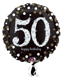 "Sparkling Celebration Black & gold 50th Birthday 18"" Helium Filled Foil Balloon"