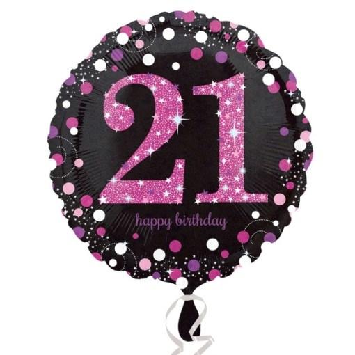 Sparkling Celebration Black Pink 21st Birthday 18 Helium Filled Foil Balloon