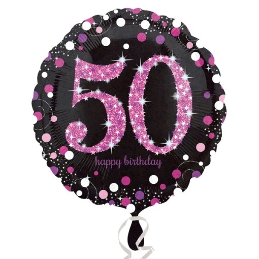 Sparkling Celebration Black Pink 50th Birthday 18 Helium Filled Foil Balloon