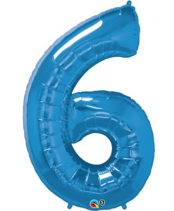 Blue foil 6 balloon.