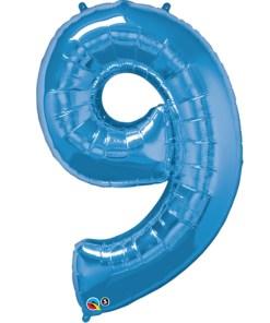 Blue foil 9 balloon.