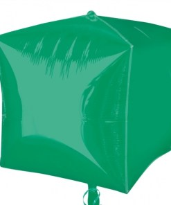 """3 Green 15"""" Helium Filled Cubez Foil Balloons"""
