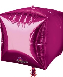 """3 Bright Pink 15"""" Helium Filled Cubez Foil Balloons"""