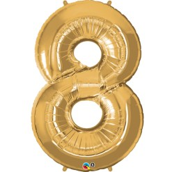 Gold number 8 foil balloon.