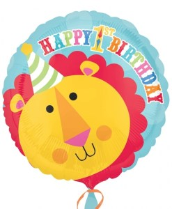 helium filled lion 1st birthday Foil Balloon