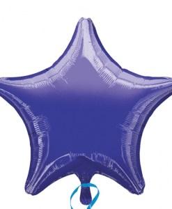 Purple helium filled star foil balloon
