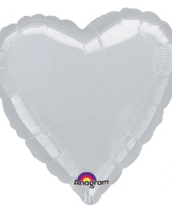 Metallic Silver heart Helium Filled Foil Balloon