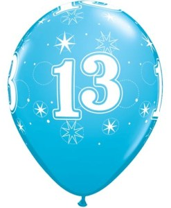 10 13th Birthday 11 Blue Helium Filled Balloons