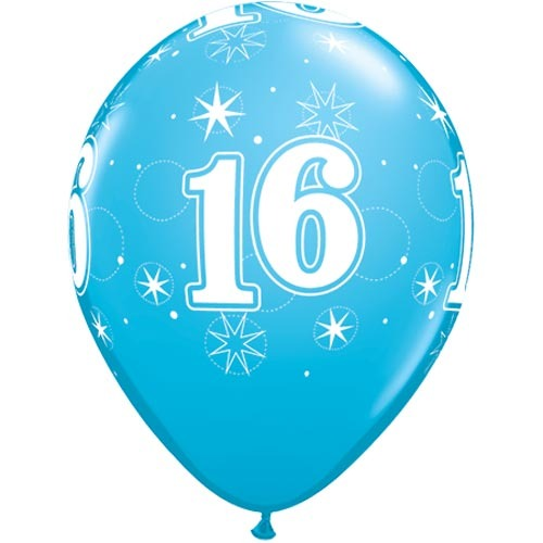 10 16th Birthday 11 Blue Helium Filled Balloons
