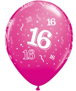 """10 16th Birthday 11"""" Pink  Helium Filled Balloons"""