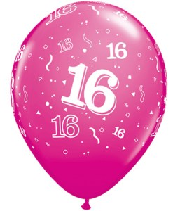 "10 16th Birthday 11"" Pink  Helium Filled Balloons"