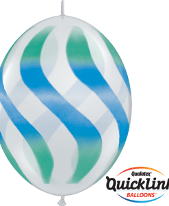 10 Clear Wavy Stripes Green & Blue  helium filled linking balloons