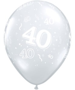 "10 40th Birthday 11"" Clear  Helium Filled Balloons"