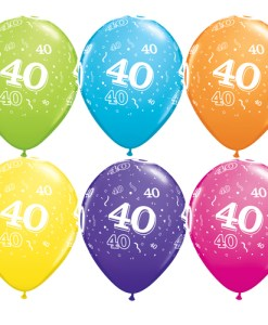 """10 40th Birthday Assorted Coloured 11"""" Helium Filled Balloons"""