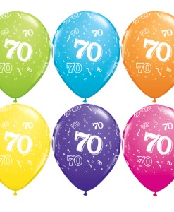 """10 70th Birthday Assorted Coloured 11"""" Helium Filled Balloons"""