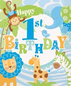 1st Birthday Blue Safari Pack of 20 Luncheon napkins at London Helium Balloons