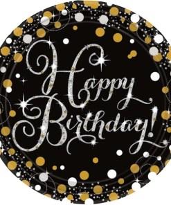 Gold Celebration Happy Birthday Plates (8)