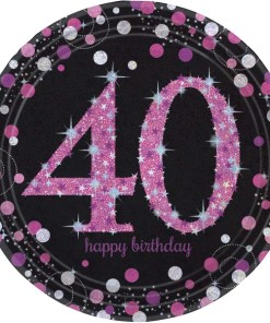 Pink Celebration Happy 40th Birthday Paper Plates (8)