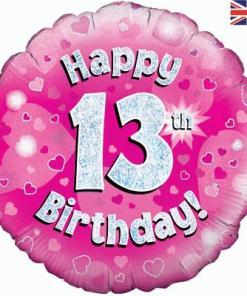 Oaktree Pink 13th Birthday Helium Balloon at London Helium Balloons