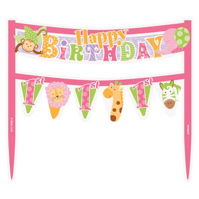 1st Birthday Pink Safari Cake Banner At London Helium Balloons