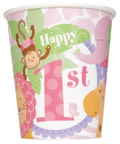 1st Birthday Pink Safari Pack of 8 Cups at London Helium Balloons