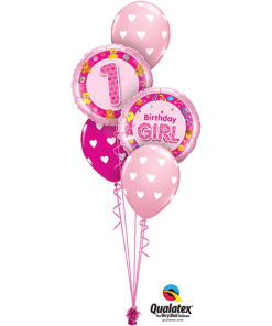 1st Birthday girl pink bouquet at London Helium Balloons