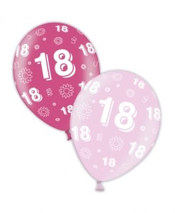 "10 18th Birthday Fab Fuchsia 11"" Helium Filled Balloons"