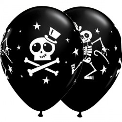 10 dancing skeleton top hat onyx black Helium Filled Latex Balloons