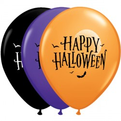 "10 moon bats halloween 11"" orange/purple/violet/onyx black Helium Filled Latex Balloons"