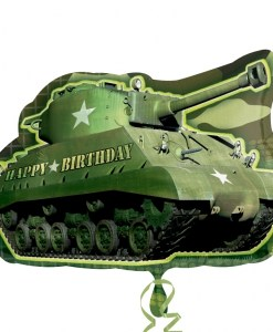 Birthday Army Tank Supershape Helium Filled Balloon Bouquet with 2 Treated Latex and 2 Foil Balloons