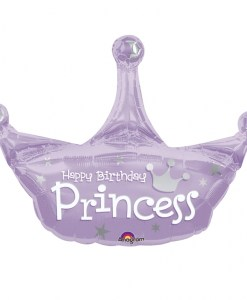 Birthday Princess Crown Supershape Helium Filled Balloon Bouquet with 2 Treated Latex and 2 Foil Balloons
