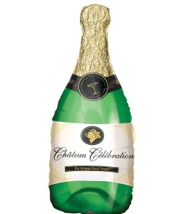 Champagne Bottle helium filled foil balloon