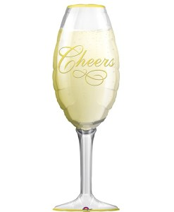 Champagne Glass helium filled foil balloon