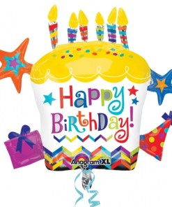 Happy Birthday Cupcake Star Supershape Helium Filled Balloon Bouquet with 2 Treated Latex and 2 Foil Balloons