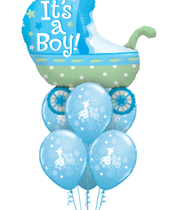 Baby Boy Pram at London Helium Balloons