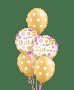 Gold Pink Polka Dots At London Helium Balloons