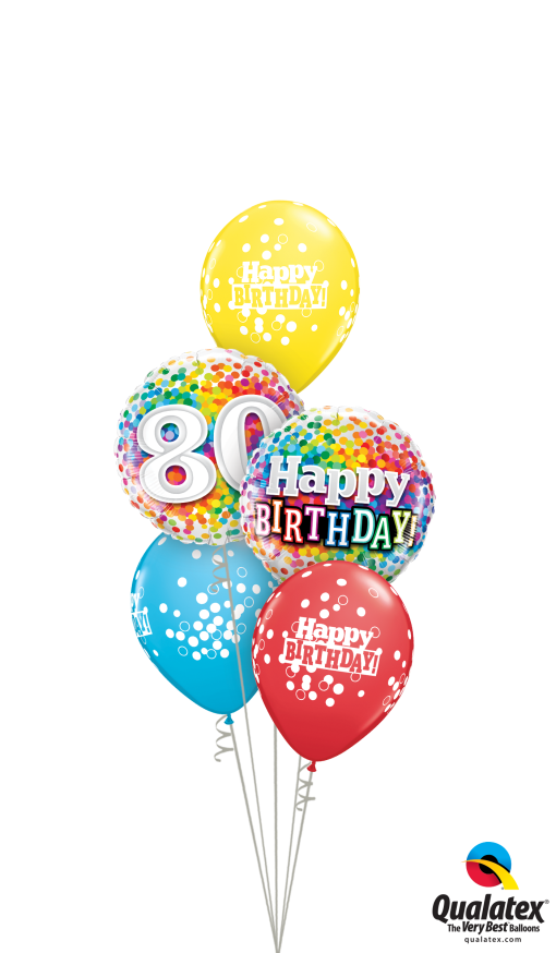 80th Bday Confetti Dots Classic At London Helium Balloons