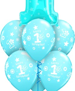 Blue Number 1 Birthday At London Helium Balloons